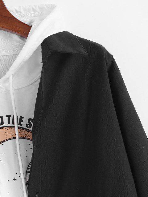 Einfarbige Tasche Patch Lange Jacke - Schwarz 2XL Mobile