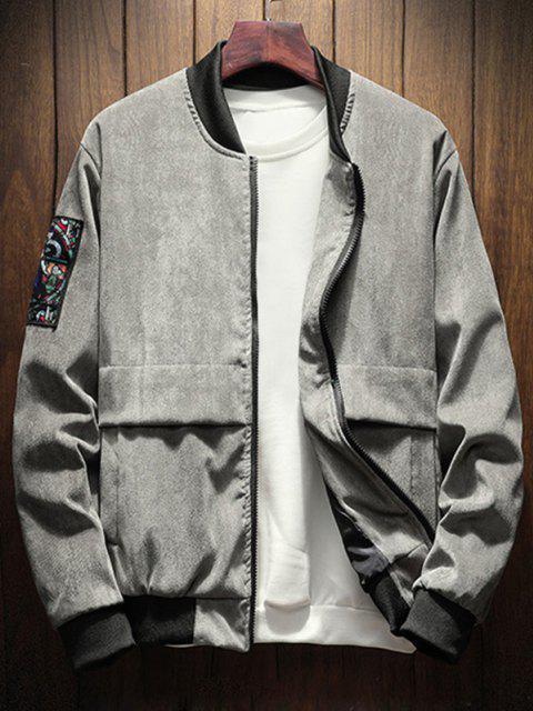shop Letter Graphic Renaissance Patched Corduroy Jacket - GRAY L Mobile