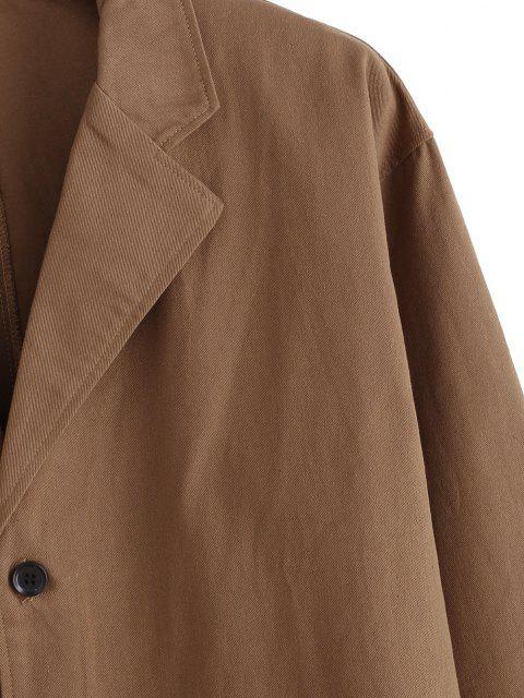 Blazer Lettre Brodée en Couleur Unie avec Poche - Rouille XL Mobile