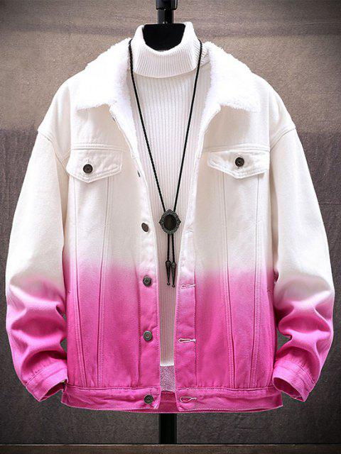 best Ombre Print Fluffy Jean Jacket - PINK 3XL Mobile