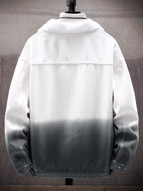 fancy Ombre Print Fluffy Jean Jacket - BLACK 3XL Mobile