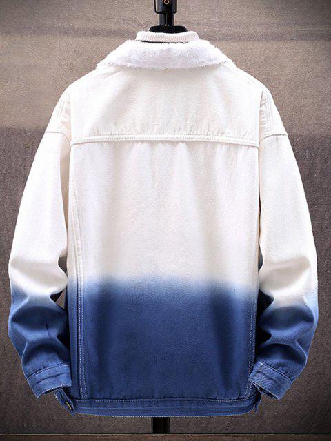 Veste Fourrée Ombre Imprimé en Denim - Bleu 2XL Mobile