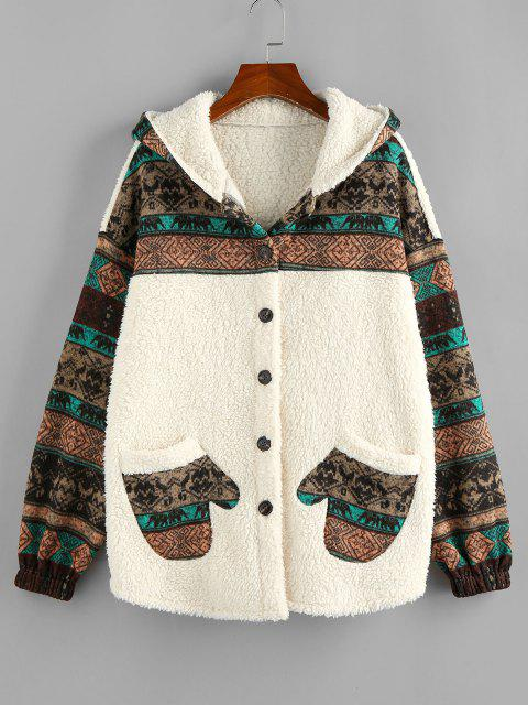 ZAFUL Hooded Tribal Faux Shearling Insert Pocket Jacket - ضوء الكاكي XL Mobile
