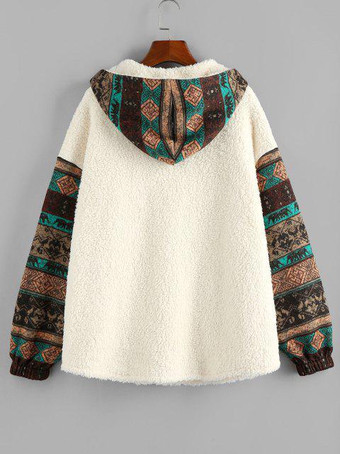 hot ZAFUL Hooded Tribal Faux Shearling Insert Pocket Jacket - LIGHT KHAKI XL Mobile