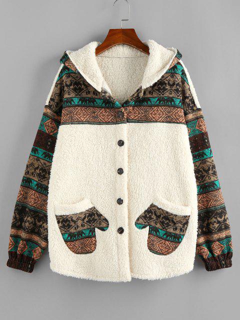 outfit ZAFUL Hooded Tribal Faux Shearling Insert Pocket Jacket - LIGHT KHAKI S Mobile