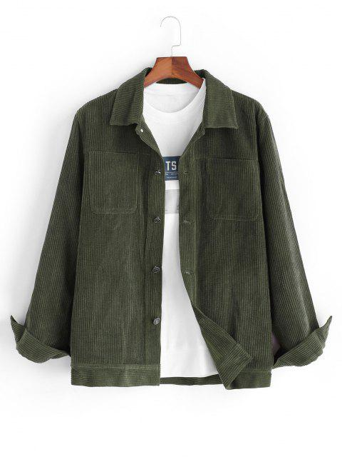 outfits Corduroy Front Pocket Shacket - DEEP GREEN 2XL Mobile