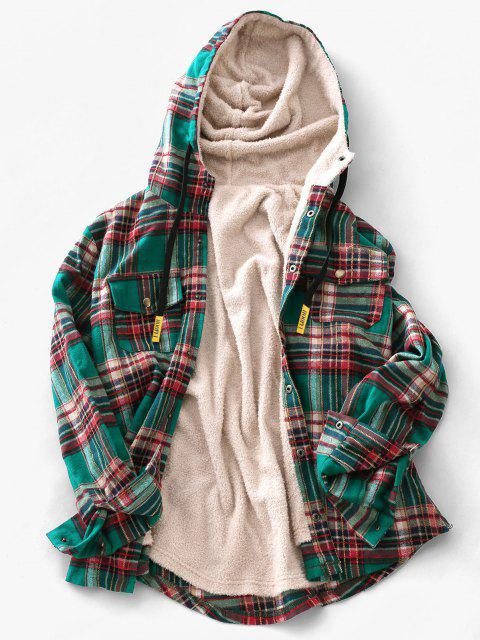 unique Plaid Pattern Pocket Plush Hooded Shirt Jacket - DEEP GREEN 2XL Mobile