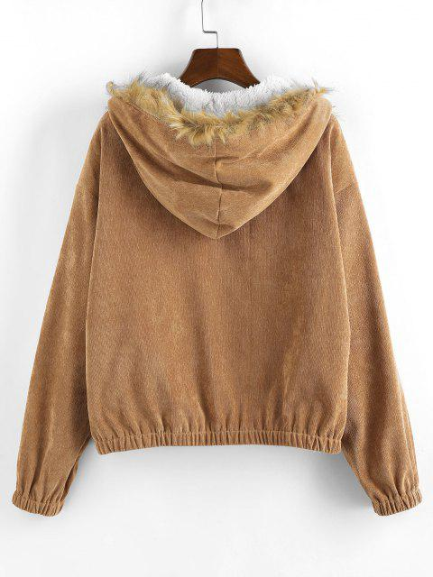 ZAFUL Corduroy Drop Shoulder Faux Shearling Lined Parka Coat - قهوة XL Mobile