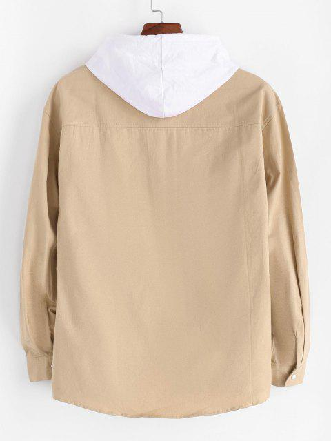 文字刺繍配色ポケットシャツジャケット - ライトカーキ 2XL Mobile