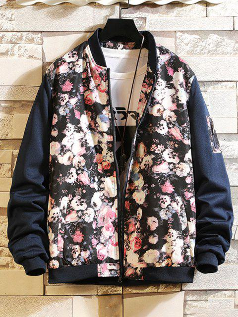 lady Flower Print Panel Zip Up Jacket - BLUE S Mobile