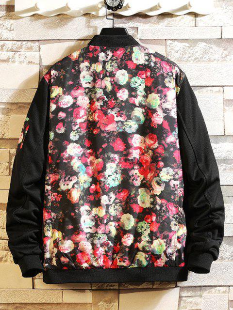 online Flower Print Panel Zip Up Jacket - BLACK L Mobile