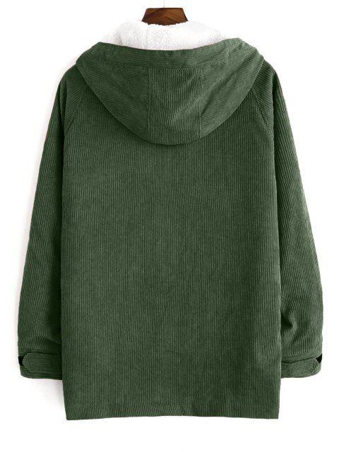 ladies Faux Fur Raglan Sleeve Hooded Corduroy Jacket - ARMY GREEN 2XL Mobile