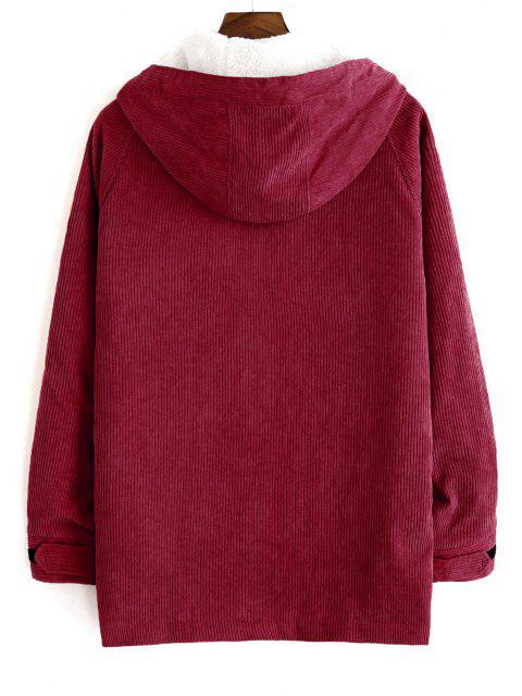 affordable Faux Fur Raglan Sleeve Hooded Corduroy Jacket - RED WINE 2XL Mobile