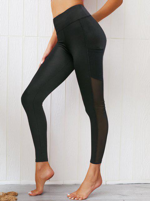 trendy Mesh Panel Pockets High Waist Leggings - BLACK S Mobile