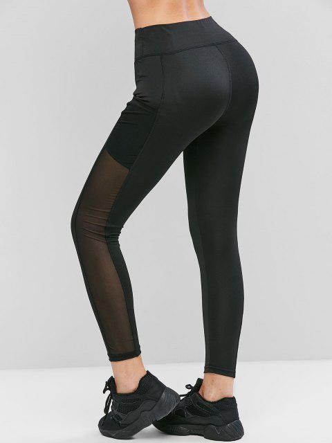 lady Mesh Panel Pockets High Waist Leggings - BLACK M Mobile