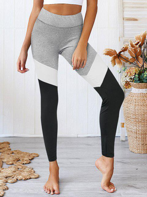 affordable Colorblock High Waist Sports Leggings - MULTI-A S Mobile