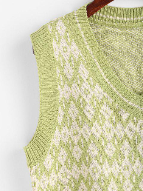buy V Neck Geo Sweater Vest - PISTACHIO GREEN ONE SIZE Mobile