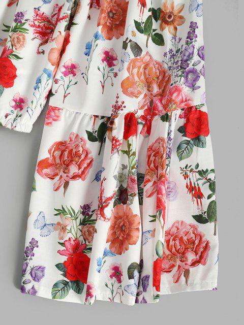 women Flower Ruffle Off Shoulder Flare Sleeve Blouse - MULTI L Mobile
