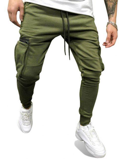 Reißverschluss Taschen Tunnelzug Sporthose - Grün XL Mobile