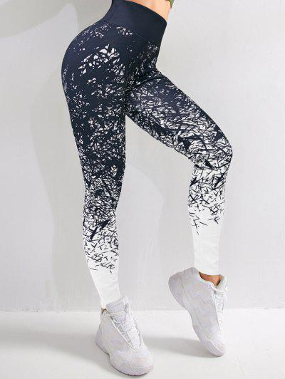 Active Abstract Print Leggings - Black Xl