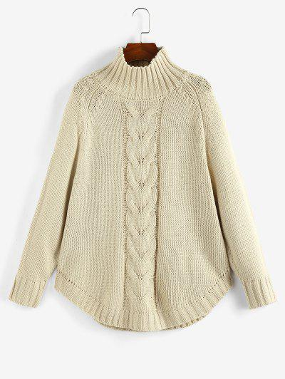 Mock Neck Raglan Sleeve Sweater - Light Coffee S