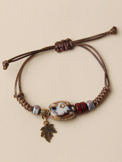 Braid Design Leaves Pendant Bracelet - Coffee