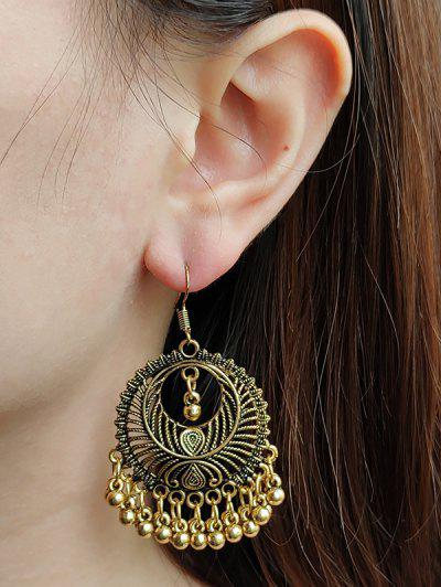 Metal Bead Design Drop Earrings - Golden