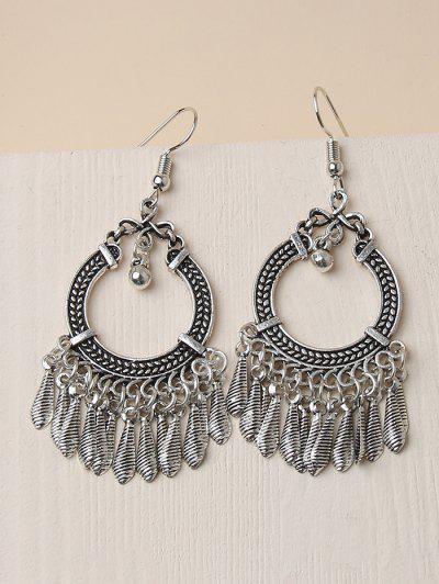 Embossed Circle Fringed Drop Earrings - Silver