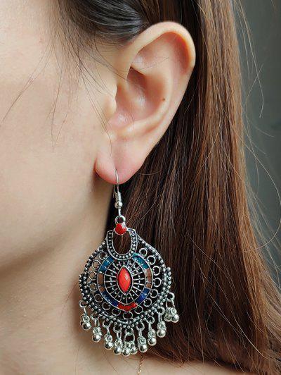 Faux Gem Ball Fringed Drop Earrings - Silver