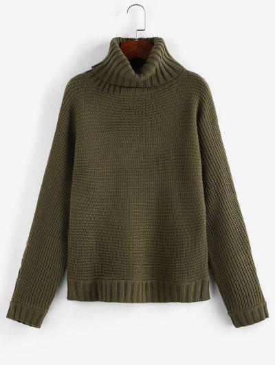 ZAFUL Turtleneck Batwing Sleeve Sweater - Deep Green M