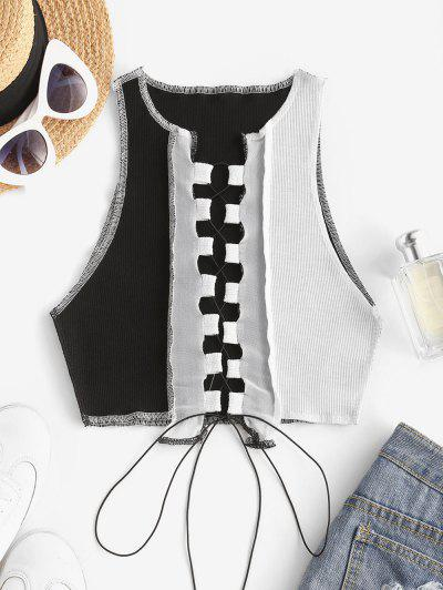 Mesh Panel Reverse Stitching Lace Up Two Tone Tank Top - Black S