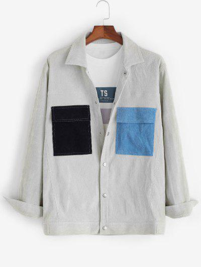 Colorblock Pockets Snap Button Corduroy Shacket - Light Gray L