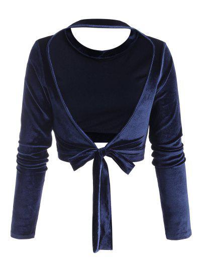 Self-tie Open Back Velvet Crop Top - Deep Blue S