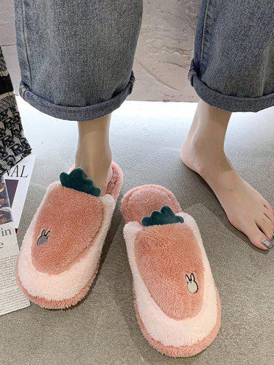 Cartoon Carrot Shape Fuzzy Home Slippers - Light Pink Eu 38