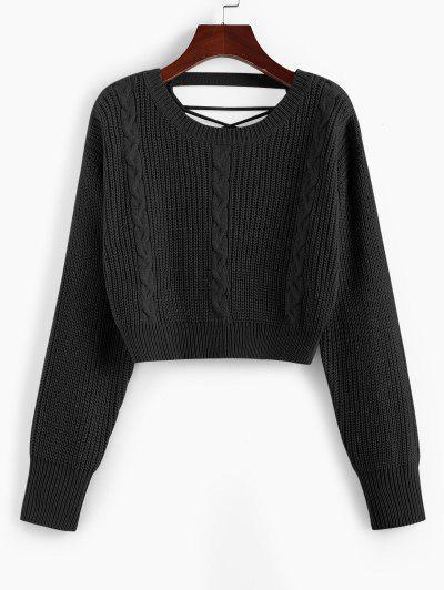 ZAFUL Criss Cross Cable Knit Crop Sweater - Black M