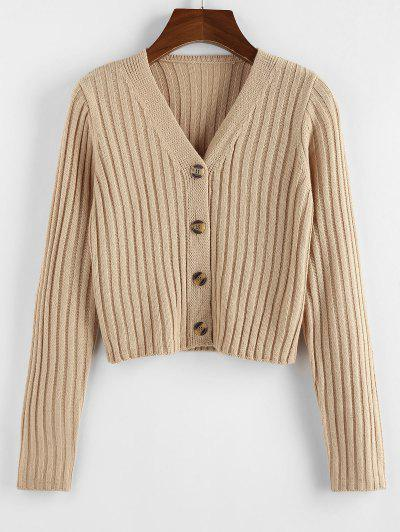 ZAFUL Ribbed Button Up Crop Cardigan - Light Coffee L