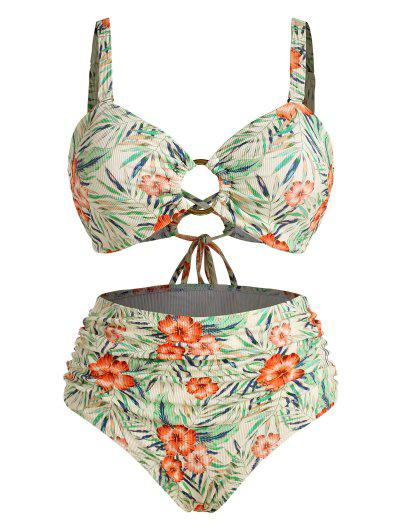 ZAFUL Plus Size Ribbed Floral Leaf O-ring Ruched Bikini Swimwear - Multi Xl