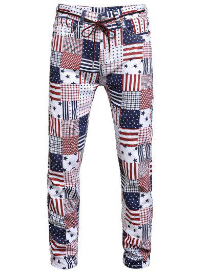 Amerikanische Flagge Allover Muster Denim Jeans - Multi-a 32