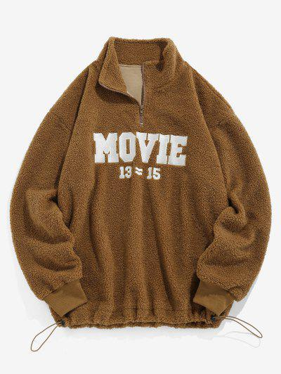 ZAFUL Movie Embroidery Half Zipper Teddy Sweatshirt - Coffee L