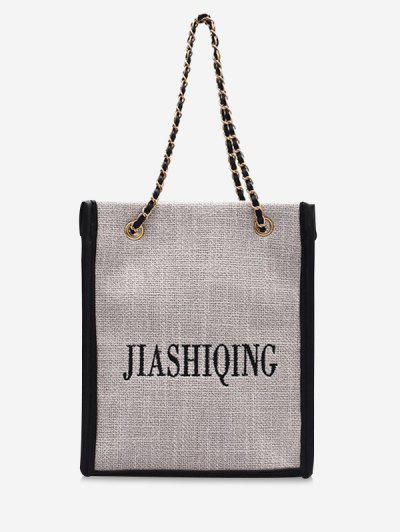 Letter Embroidery Canvas Chain Tote Bag - Black