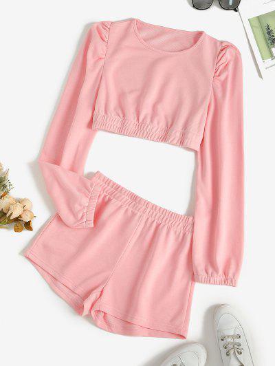 Cropped Plain Short Two Piece Sweat Suit - Light Pink S