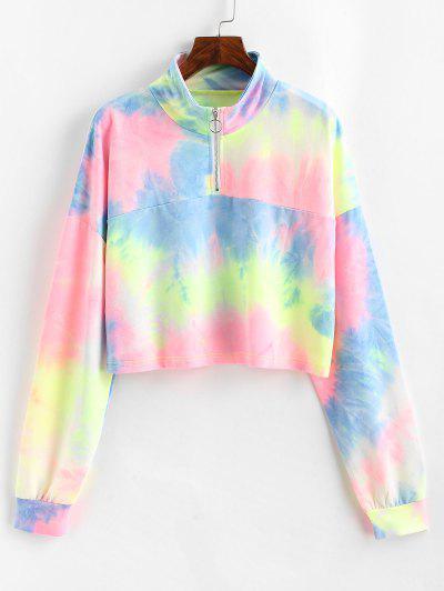 Tie Dye Print Half Zip Cropped Sweatshirt - Multi M