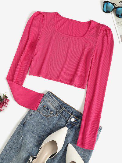 Kurzes Geripptes Puff Ärmel T-Shirt - Pink L