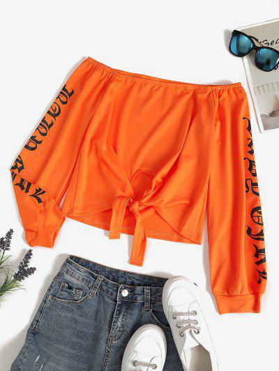 Off Shoulder Tie Front Graphic Top - Orange M