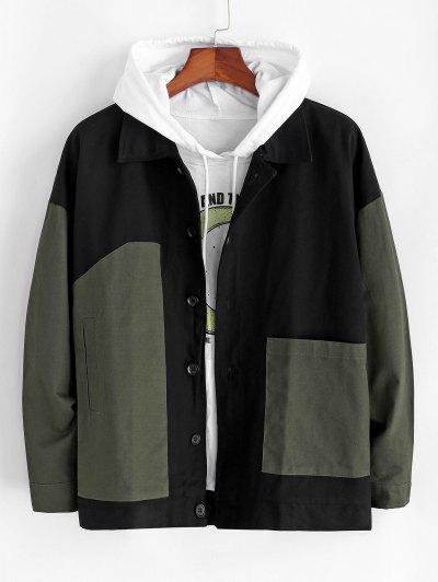 Colorblock Patchwork Drop Shoulder Jacket - Army Green 2xl