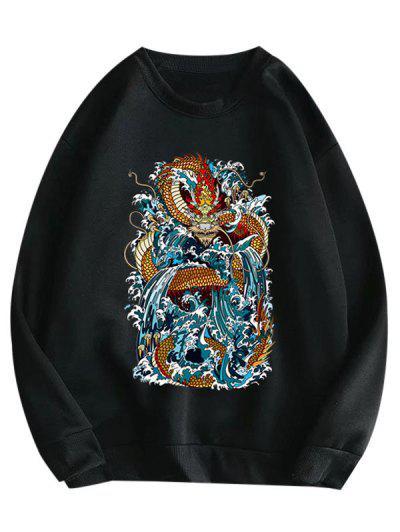 Rib knit Trim Oriental Dragon Print Fleece Lined Sweatshirt