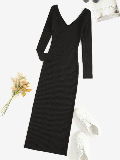 Long Sleeve Ribbed Double V Slinky Dress - Black S