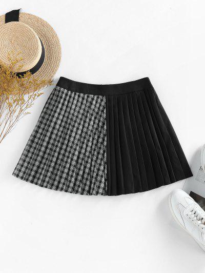 ZAFUL Plaid Pleated Preppy Mini Skirt - Black M