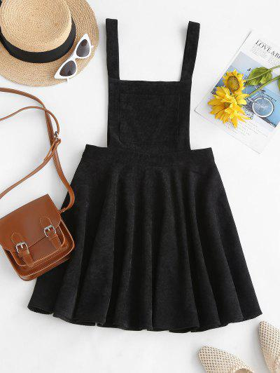 ZAFUL Corduroy Mini Overall Dress - Black S