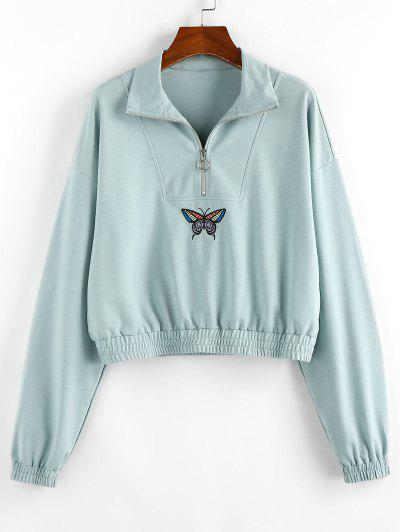ZAFUL Drop Shoulder Butterfly Crop Sweatshirt - Cyan Opaque S